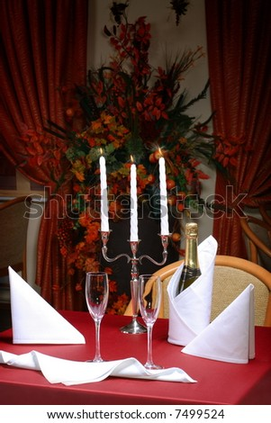 table for two setup with glasses