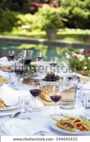 Table full of food and wine in backyard