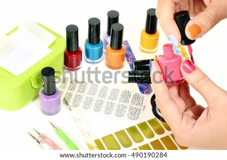 Table Full Manicure Utensils Colored Nail Stock Photo Royalty Free