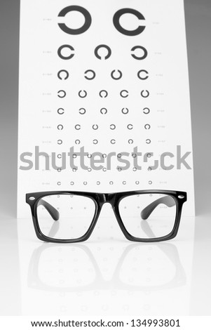 Table Golovin and glasses eye examination. On a gray background. - stock photo