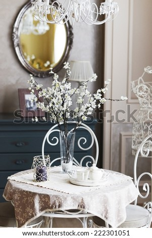 Table in cafe - stock photo