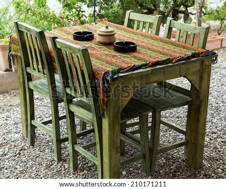 table in restaurant served on traditional turkish tablecloth - stock photo