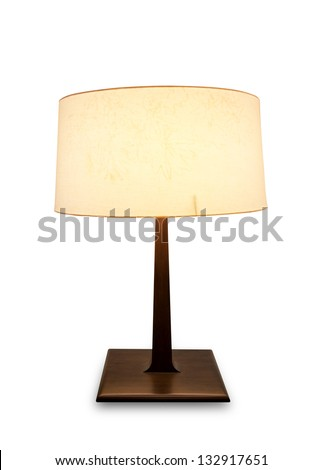 table lamp isolated on white with clipping path - stock photo