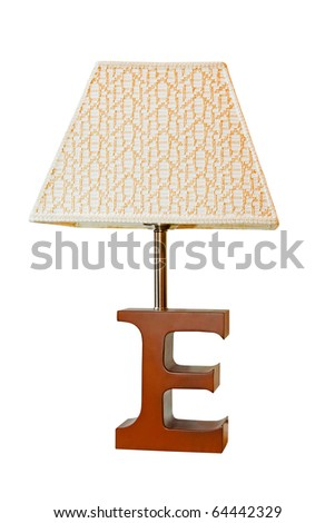 Table lamp with letter E on a stand and clipping path included - stock photo