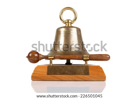 Table meeting bell  isolated on white background. front view - stock photo