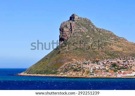 Table Mountain along the coast of Cape Town, South Africa - stock photo