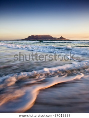 Table Mountain at Sunset - stock photo