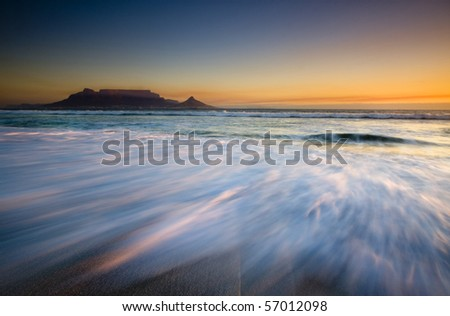 Table Mountain at sunset, Cape Town, South Africa - stock photo