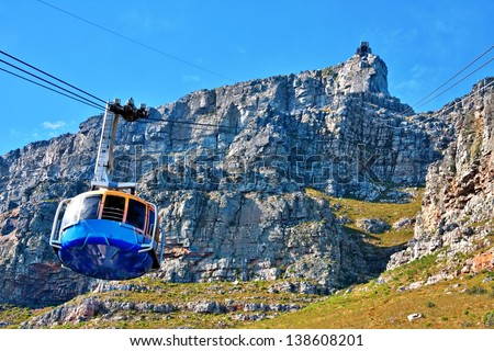table mountain cable way in cape town, south africa - stock photo