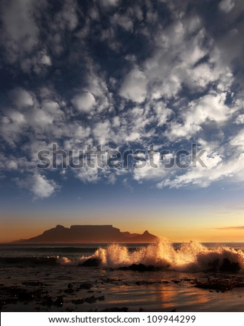 Table Mountain with clouds, Cape Town, South Africa - stock photo