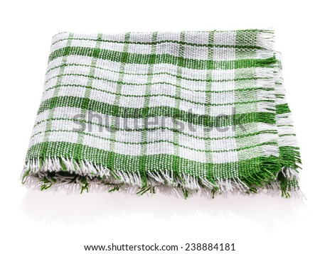 Table napkin or tablecloth green and white isolated on white background - stock photo