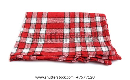 Table napkin or tablecloth red and white - stock photo