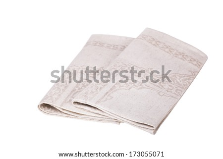 table napkins on white background isolated