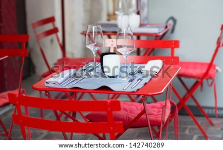 Table of an outdoor French cafe