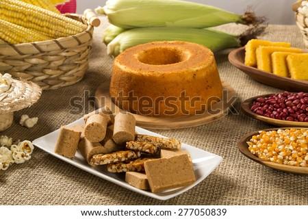 Table of brazilian festa junina - stock photo