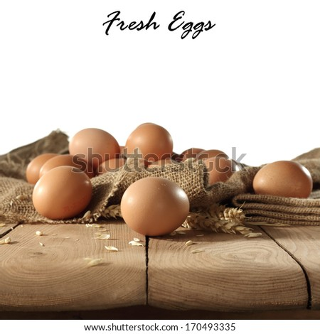 table of eggs and rye  - stock photo