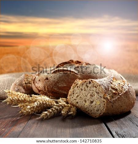 table of fresh bread - stock photo