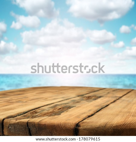 table of wood and sea  - stock photo