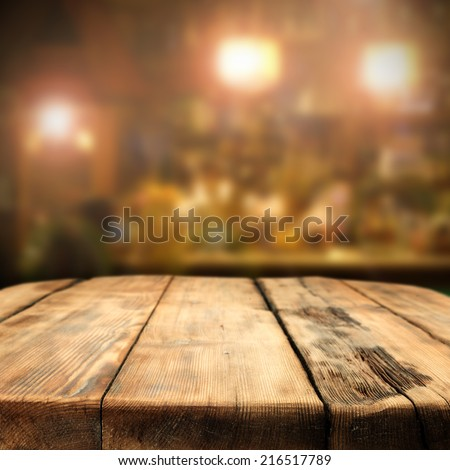 table of wood in pub  - stock photo