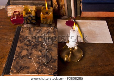 table of writer - stock photo