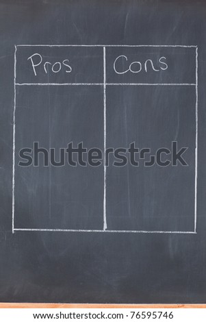 Table opposing pros and cons on a blackboard - stock photo