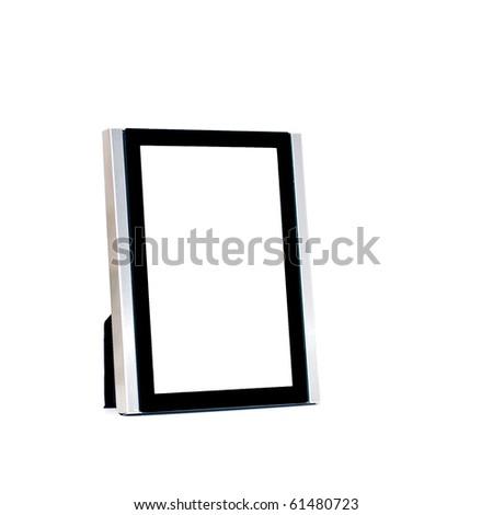 Table photo frame isolated on white - stock photo