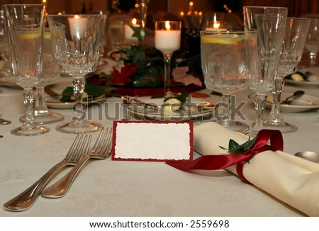 table place setting with blank table place card