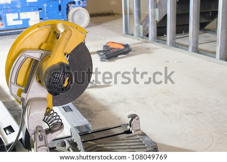 Table Saw at Construction Site Used for Cutting Metal Studs