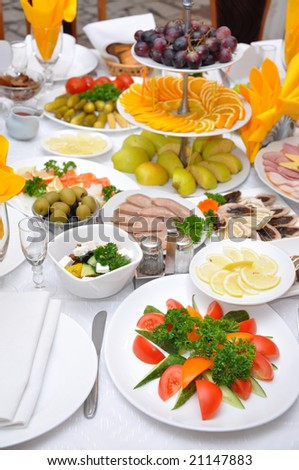 table served with various dishes