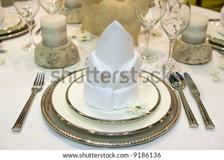Table set for a fancy dinner - stock photo