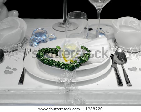 table set for a wedding dinner - stock photo