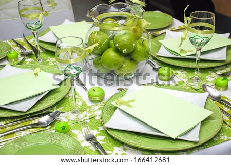 table set for a wedding dinner. Selective focus, soft focus and shallow depth of fields - DOF - stock photo