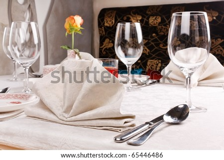 Table set for an event party - stock photo