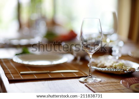 Table set for an event, party or wedding reception
