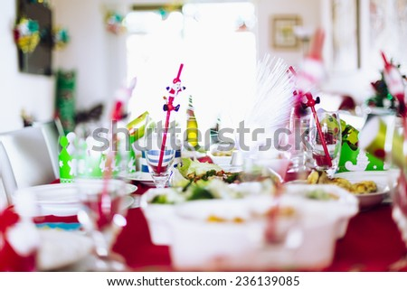 Table set for family Christmas meal - stock photo