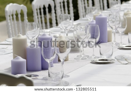 table set for open wedding party