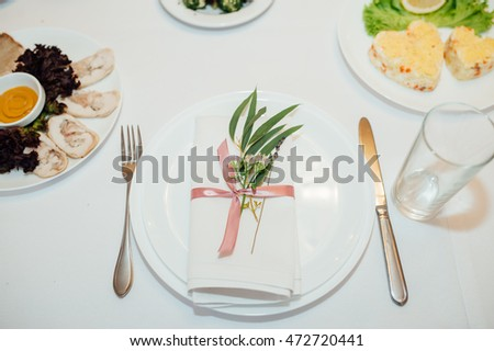 table set for wedding or another catered event dinner ceremony