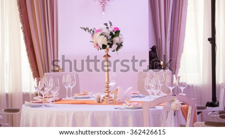 table set for wedding or another catered event dinner. Number one