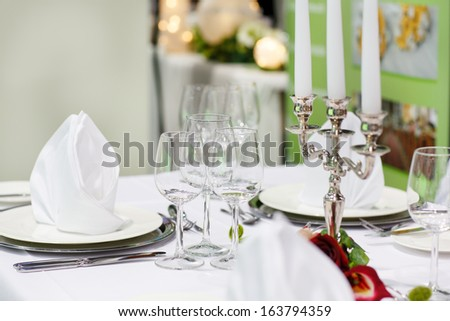 Table set  for wedding or event party