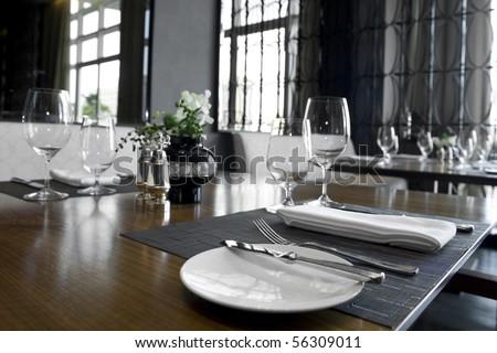 Table set on a fine restaurant - stock photo