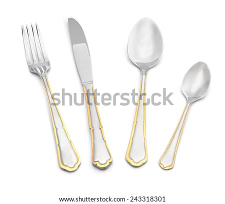 Table set on a white background closeup isolate - stock photo