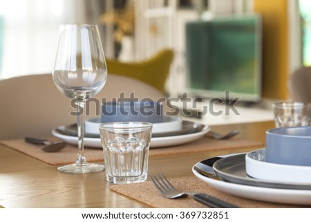 table set on dinning table at home