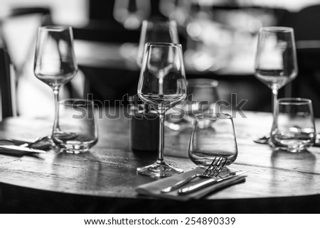 table set restaurant - stock photo