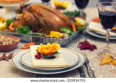 Table set up for celebrating Thanksgiving - stock photo