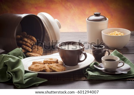Table set up for continental breakfast coffee milk tea cookies corn & Table Set Continental Breakfast Coffee Milk Stock Photo u0026 Image ...