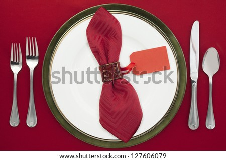 Table set-up with Chain Greeting Card - stock photo