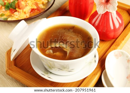 Table set with shark fin soup     - stock photo