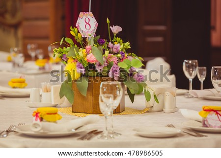 Table setting at a luxury wedding dinner