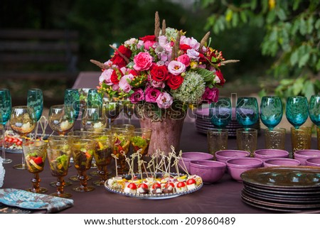 Table setting at a luxury wedding or another catered event  - stock photo