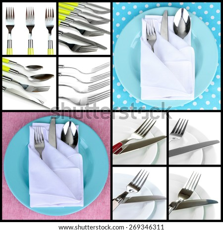 Table setting collage - stock photo